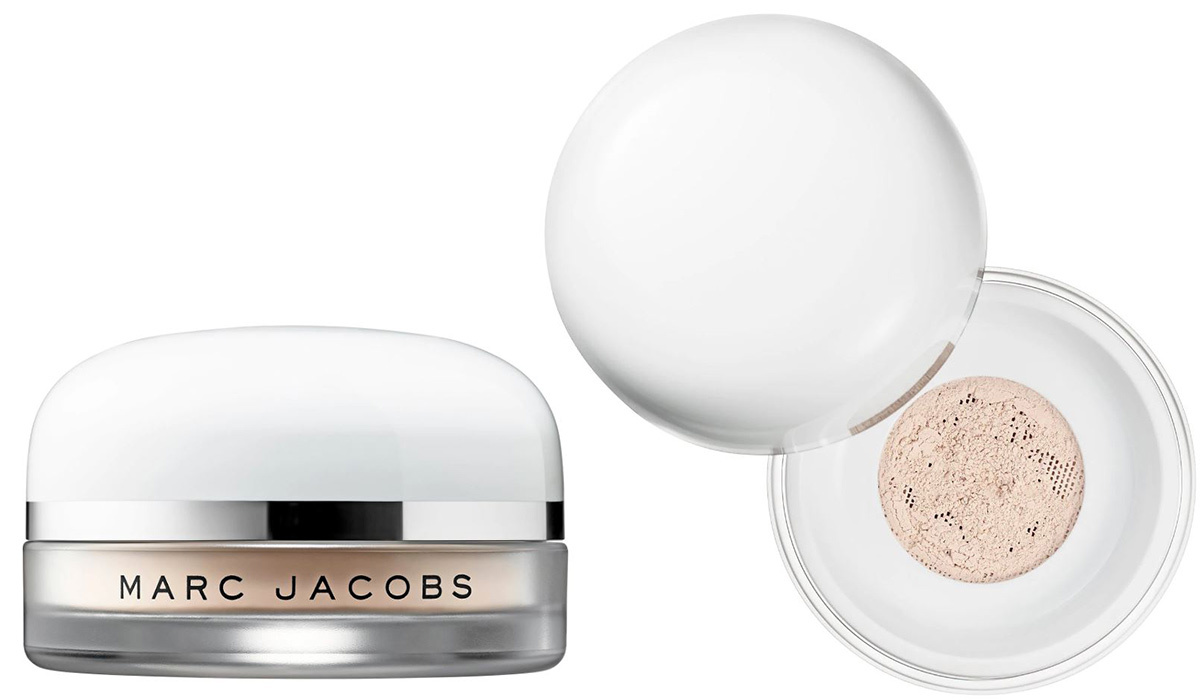 White and clear jar of nude setting powder from Sephora photo
