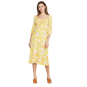 Yellow and pink floral print midi dress by Faithfull The Brand from Shopbop photo