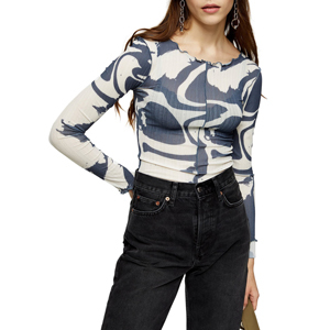 Blue and white abstract long sleeve top by Topshop from Nordstrom photo