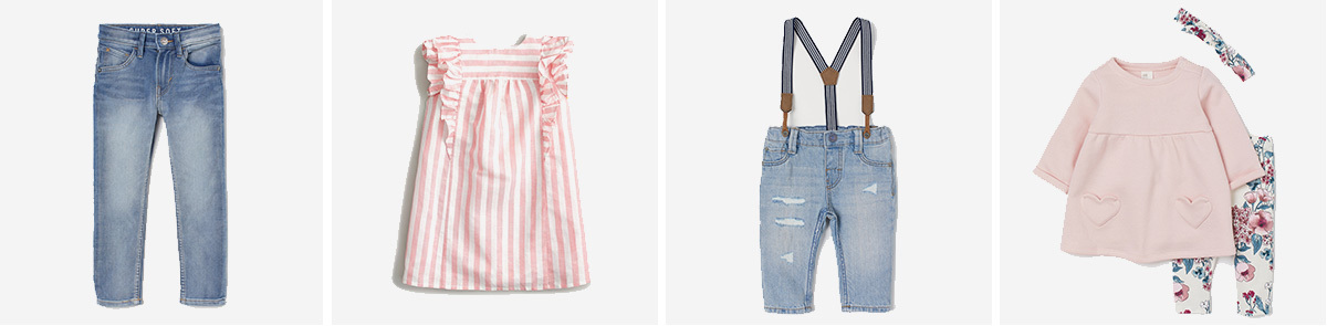 Collage of boys' jeans, girls' dress, infant overalls, and infant 3-piece set photo
