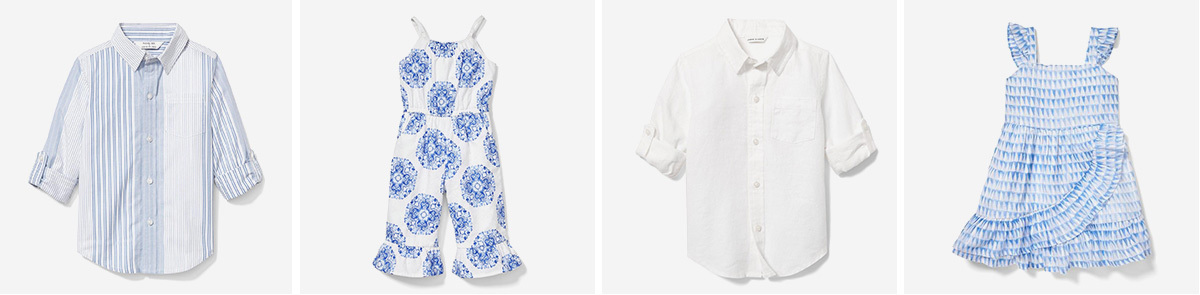Collage of boys' striped button-down, girls' patterned romper, infant white button-down, and infant patterned dress photo