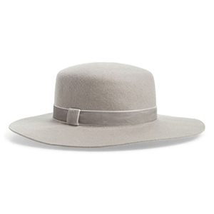 Silver boater hat with velvet ribbon from Nordstrom photo