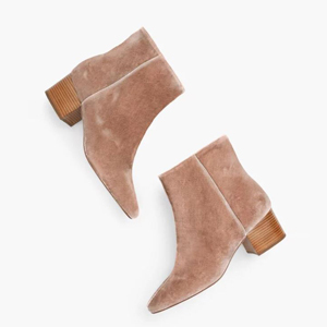 Velvet ankle booties in blush pink from Talbots photo