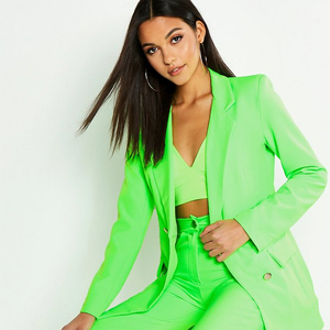 Tailored neon green blazer with matching pants from Boohoo photo