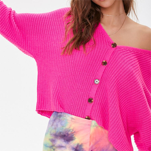 Fuschia ribbed cardigan with buttons from Forever21 photo