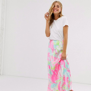 Long skirt with neon floral print pattern from Asos photo
