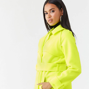 Double-breasted neon yellow trench coat from Forever21 photo
