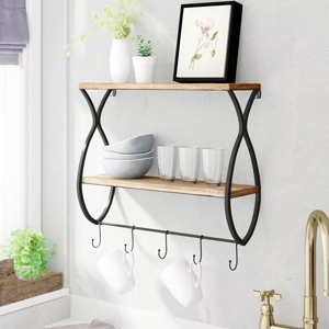 Wood and black metal shelf with hooks for mugs from Wayfair photo