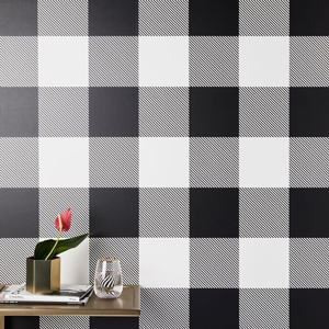 Black and white buffalo check wallpaper from West Elm photo