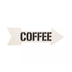 Metal sign in the shape of an arrow that says COFFEE from Target photo
