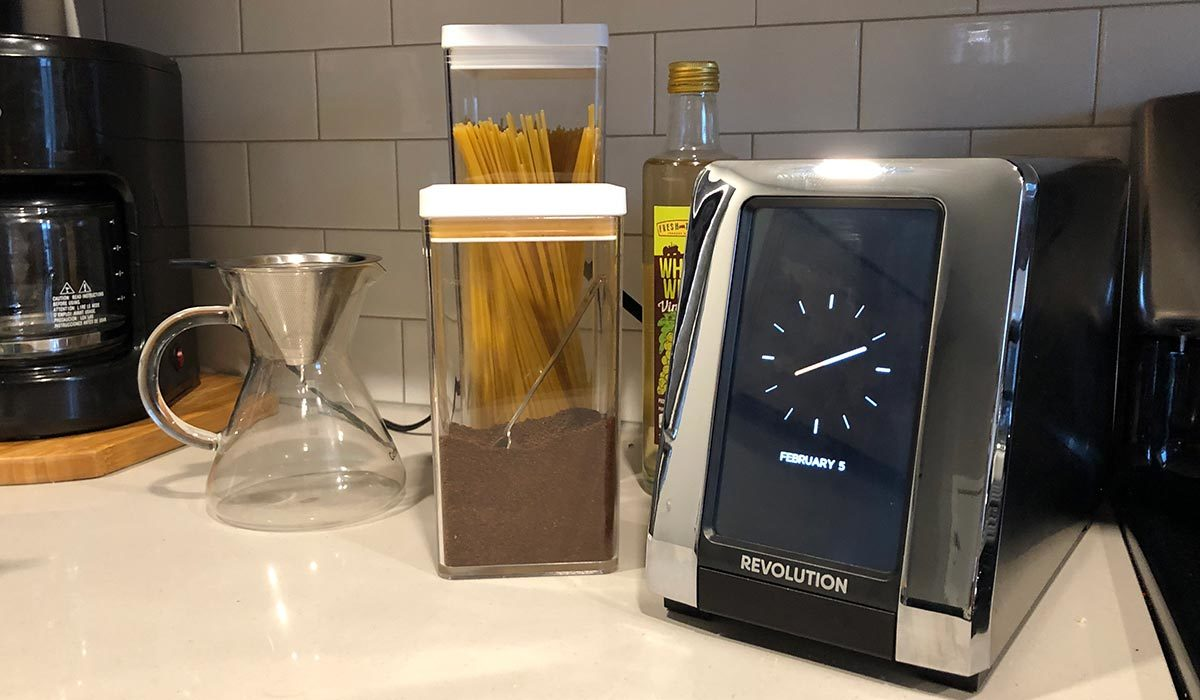 Stainless steel Revolution Cooking smart toaster from Williams Sonoma in a kitchen photo
