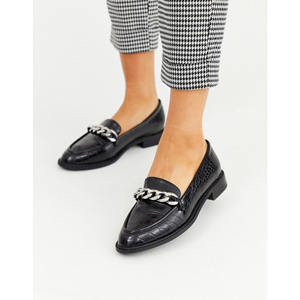 Black faux leather loafers with chain detail from Asos photo