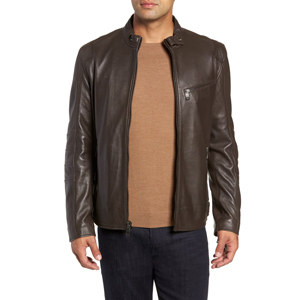 Andrew Marc leather moto jacket in chocolate brown from Nordstrom photo