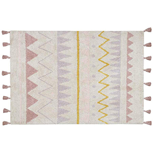 Lorena Canals Azteca Natural Vintage Washable Rug with tassels from Amazon photo