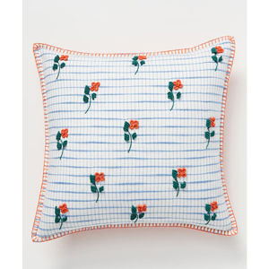 Anthropologie floral and check embroidered throw pillow from Nordstrom photo