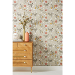 Bird and floral print wallpaper from Anthropologie photo