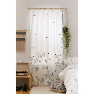 White with black floral embroidery window panels from Urban Outfitters photo