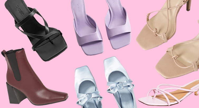 Square-toe boots, strappy stilettos, kitten heels, and flats
