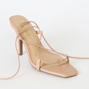 Nude square-toe lace-up stilettos from Lulus photo