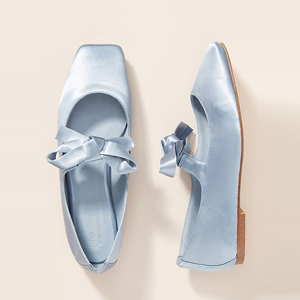 Jeffrey Campbell sky blue satin square-toe ballet flats from Anthropologie photo