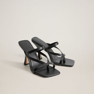 Black leather strappy heels from Mango photo