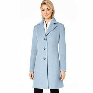 Woman in blue single-breasted coat from Macy's photo