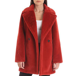 Woman in red faux fur peacoat from Nordstrom photo