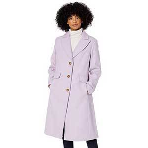 Woman in lavender coat from Amazon photo