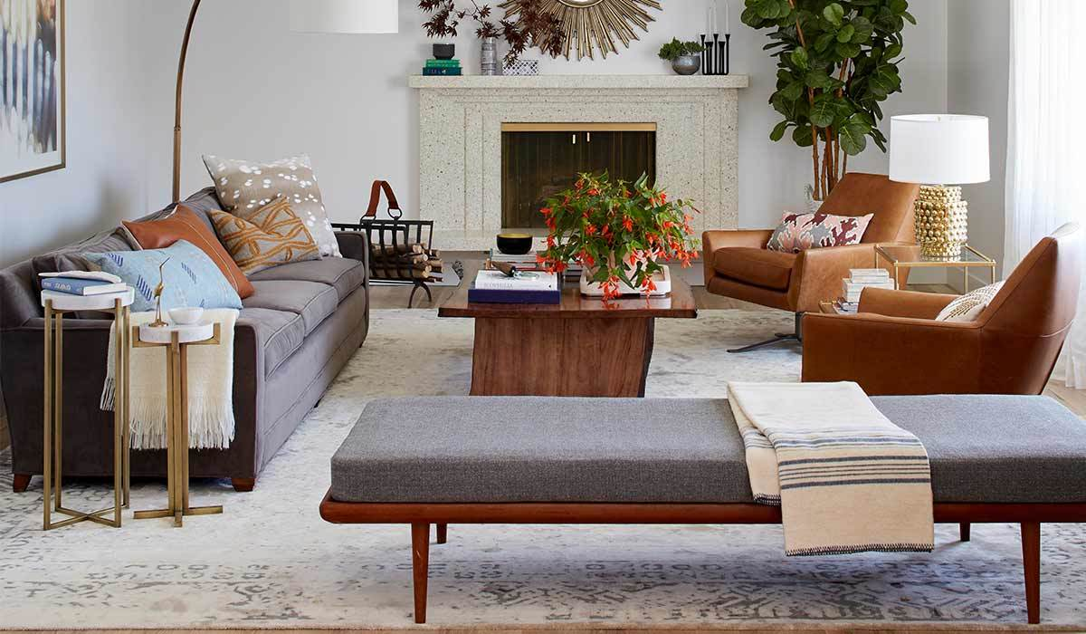 Living Room with a gray couch and daybed photo