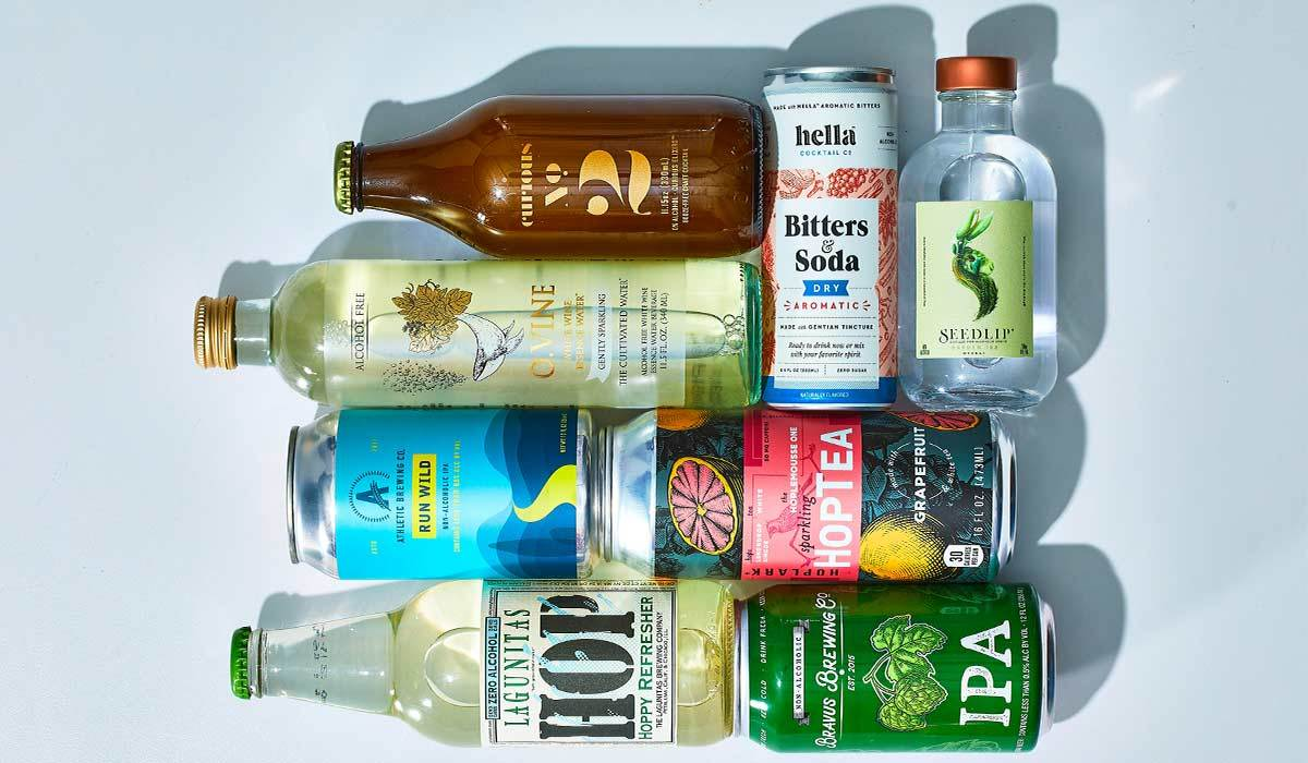 Multiple bottles and cans of alcohol-free beverages photo