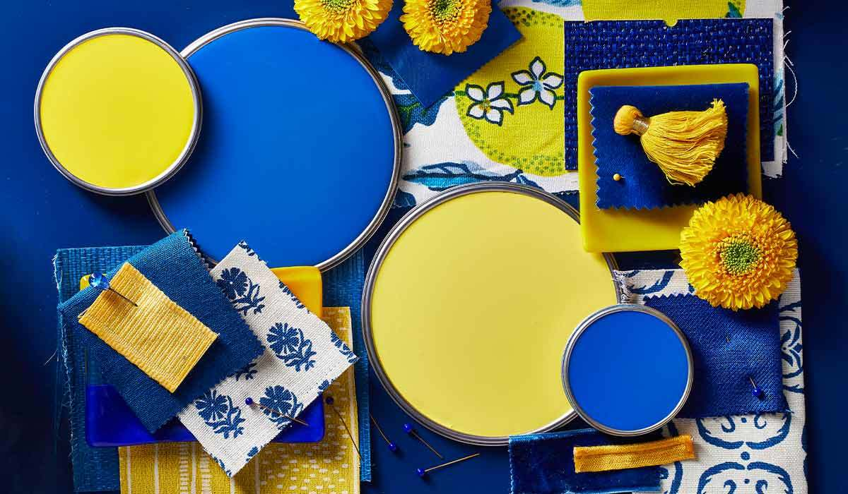 Blue and yellow paint colors and fabric photo