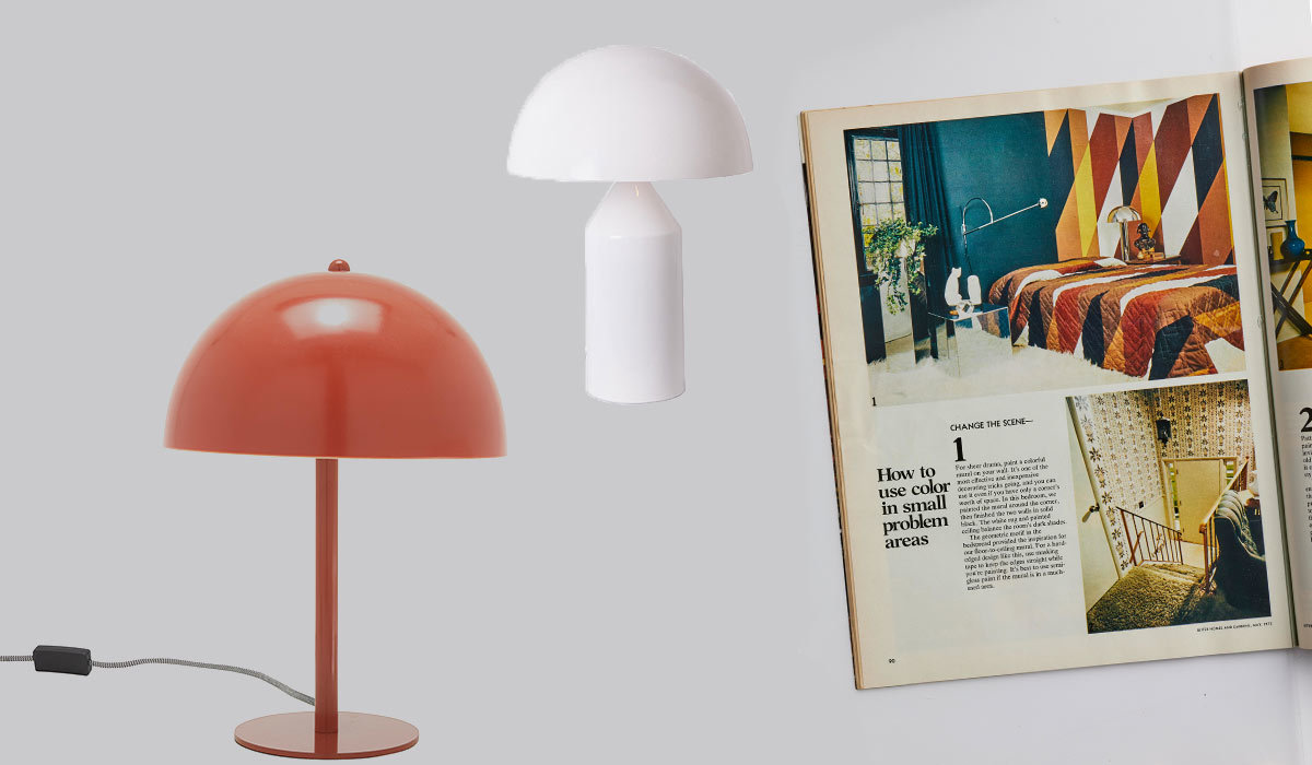 Two mushroom lamps next to a vintage Better Homes & Gardens magazine photo