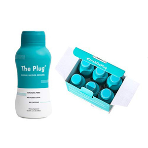 Blue and white bottle of The Plug Hangover Drink from Amazon photo