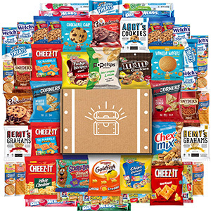 Various snacks surrounded by a box from Amazon photo