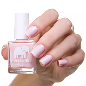 Pink nail polish with a little white elephant decal from Target photo