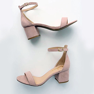 Pink wedge heels with an ankle strap from Lulus photo