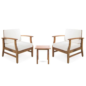 Three-piece conversation set with white cushions from Wayfair photo
