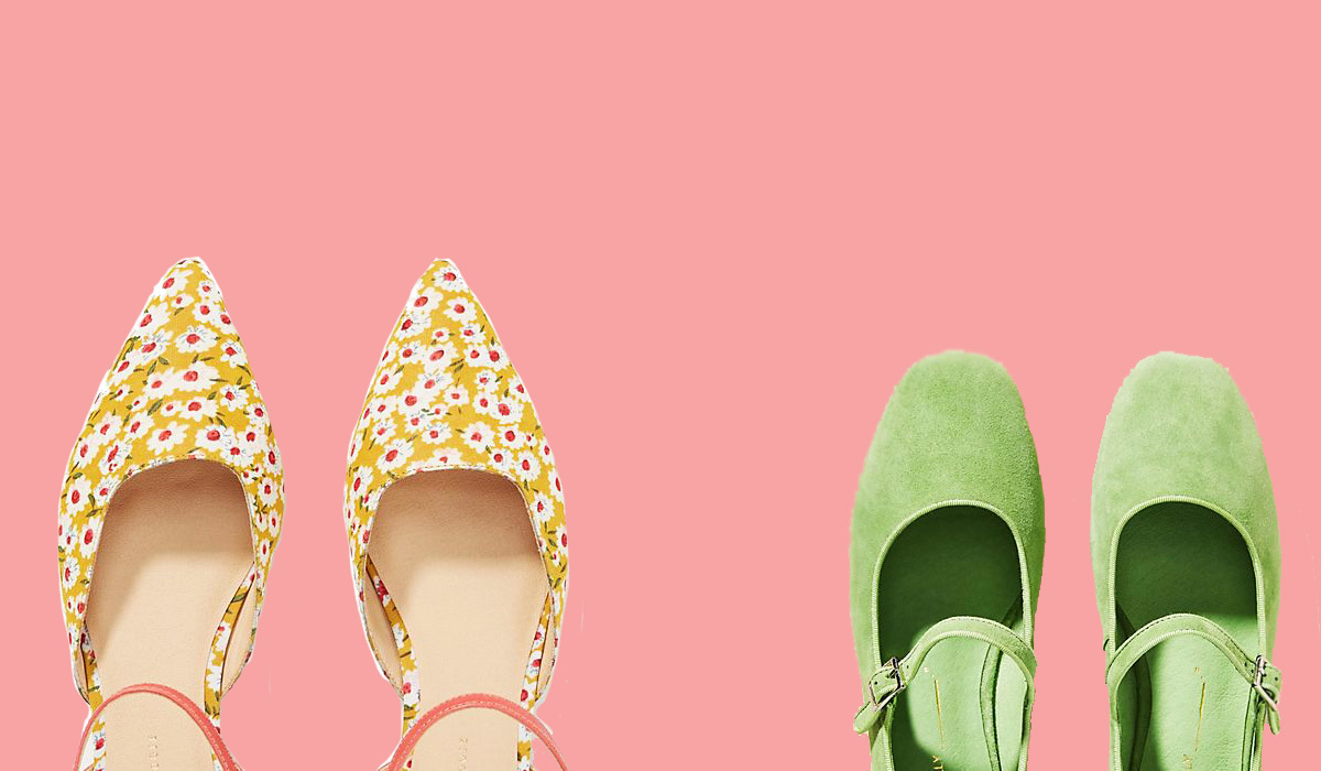 A pair of floral flats and green mary janes
