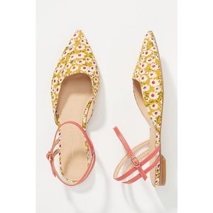 Yellow and pink floral print ankle strap flats from Anthropologie photo