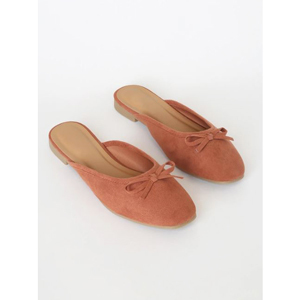 Mocha brown suede mules with round toe from Lulus photo