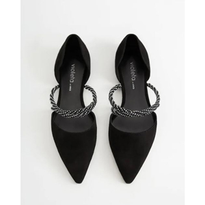 Black leather flats with sparkly strap from Mango photo