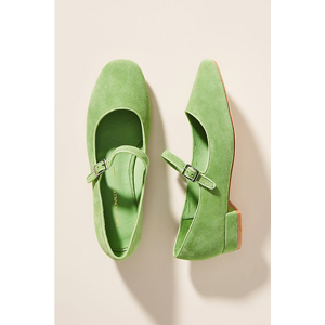 Bright green Mary Jane flats from Anthropologie photo