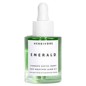 Green and white bottle of Herbivore Emerald oil from Nordstrom photo