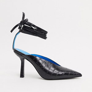 Croc embossed heels with tie ankle from Asos photo