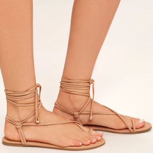 Taupe lace-up sandals from Lulus photo