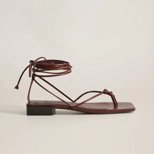 Wine red leather square-toe sandals from Mango photo