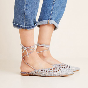 Light purple woven ankle-tie flats from Anthropologie photo