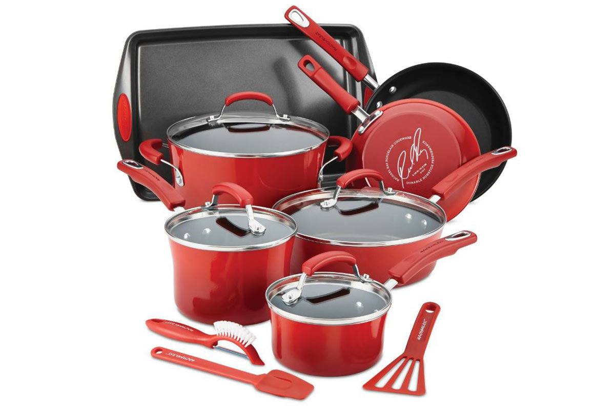 Red Rachael Ray pans and utensils from Macy's photo