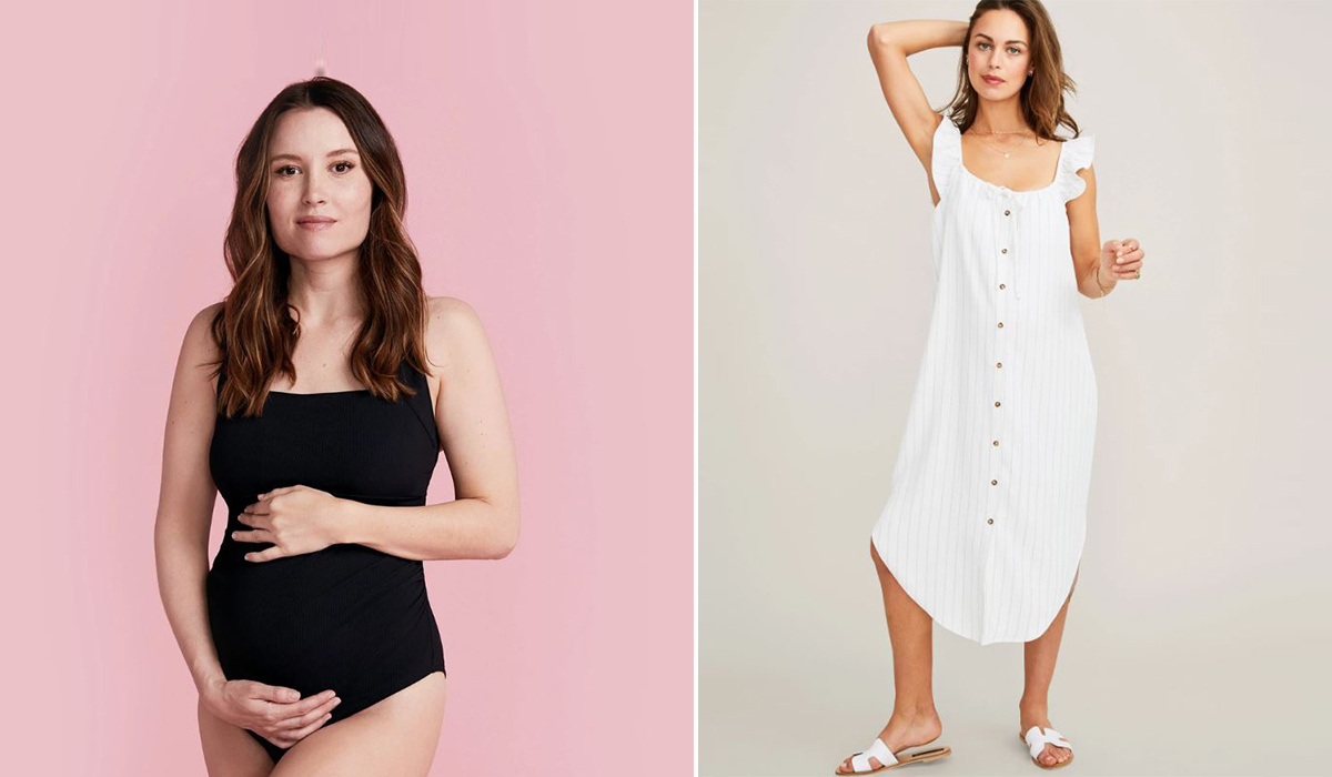 Black one-piece swimsuit from Summersalt and The Jenna Dress in white from Hatch Collection photo