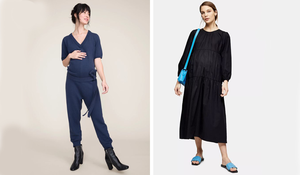 Navy blue knit jumper from Hatch Collection and Black smock dress from Topshop photo